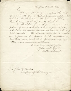 MAJOR GENERAL ROBERT C. SCHENCK - AUTOGRAPH LETTER SIGNED 10/16/1846
