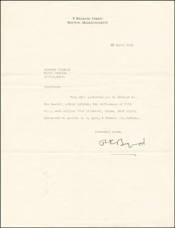 Autographs: REAR ADMIRAL RICHARD E. BYRD - TYPED LETTER SIGNED 03/23/1939