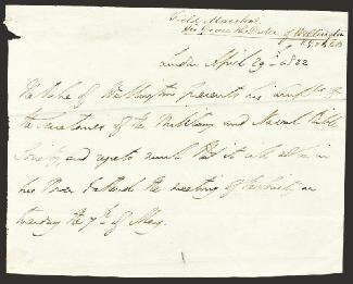 DUKE (ARTHUR WELLESLEY) OF WELLINGTON (GREAT BRITIAN) - THIRD PERSON AUTOGRAPH LETTER 04/29/1822
