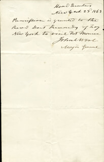 Autographs: MAJOR GENERAL JOHN E. WOOL - AUTOGRAPH NOTE SIGNED 1863