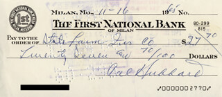 CAL (ROBERT) HUBBARD - AUTOGRAPHED SIGNED CHECK 11/16/1965