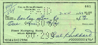 CAL (ROBERT) HUBBARD - AUTOGRAPHED SIGNED CHECK 07/22/1963