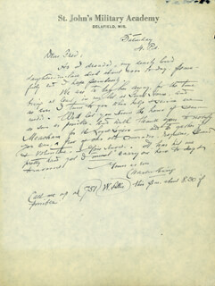 Autographs: BRIGADIER GENERAL CHARLES S. KING - AUTOGRAPH LETTER SIGNED