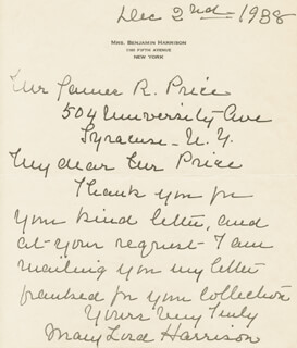 FIRST LADY MARY LORD HARRISON - AUTOGRAPH LETTER SIGNED 12/02/1938