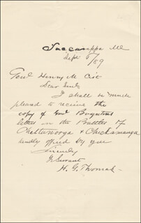 MAJOR GENERAL HENRY G. THOMAS - AUTOGRAPH LETTER SIGNED 09/06/1889