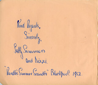 SALLY SUMMERS - AUTOGRAPH 1952
