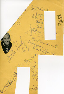 ERIK RHODES - AUTOGRAPH NOTE SIGNED CO-SIGNED BY: VIOLA DANA, BENITA HUME, TOBY WING, VINCE BARNETT, HALLIWELL HOBBES, DOROTHEA WIECK