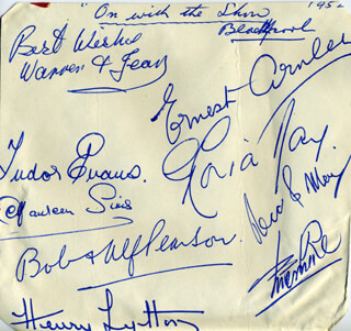 ON WITH THE SHOW PLAY CAST (BLACKPOOL 1952) - AUTOGRAPH CO-SIGNED BY: MY BROTHER AND I (BOB PEARSON), ERNEST ARNLEY, TUDOR EVANS, CHARLES WARREN AND JEAN , RECO AND MAY (HERBERT RECO), GLORIA (GLORIA ARNLEY) DAY, HENRY LYTTON JR., MAUREEN SIMS