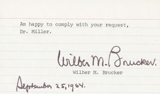 Autographs: WILBER M. BRUCKER - TYPED NOTE SIGNED 09/25/1964