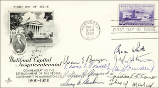 THE WARREN E. BURGER COURT - FIRST DAY COVER SIGNED CO-SIGNED BY: ASSOCIATE JUSTICE BYRON R. WHITE, CHIEF JUSTICE WARREN E. BURGER, ASSOCIATE JUSTICE LEWIS F. POWELL JR., ASSOCIATE JUSTICE SANDRA DAY O'CONNOR, ASSOCIATE JUSTICE WILLIAM J. BRENNAN JR., ASSOCIATE JUSTICE THURGOOD MARSHALL, CHIEF JUSTICE WILLIAM H. REHNQUIST, ASSOCIATE JUSTICE HARRY A. BLACKMUN, ASSOCIATE JUSTICE JOHN PAUL STEVENS