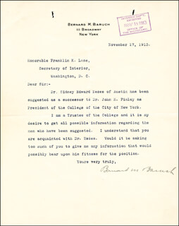 Autographs: BERNARD M. BARUCH - TYPED LETTER SIGNED 11/17/1913