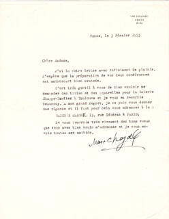 MARC CHAGALL - TYPED LETTER SIGNED 02/03/1953