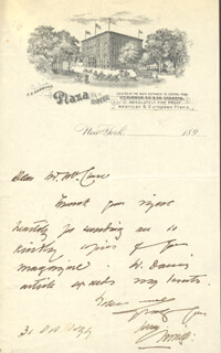 SIR HENRY IRVING - AUTOGRAPH LETTER SIGNED 10/31/1899