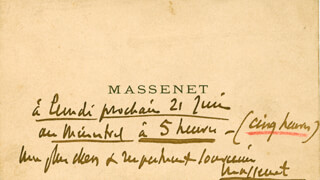 Autographs: JULES MASSENET - AUTOGRAPH NOTE ON CALLING CARD SIGNED 06/21