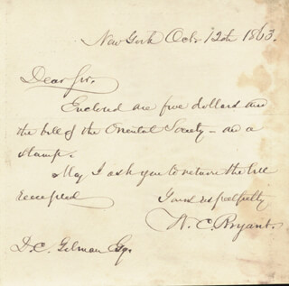 WILLIAM CULLEN BRYANT - AUTOGRAPH LETTER SIGNED 10/12/1863