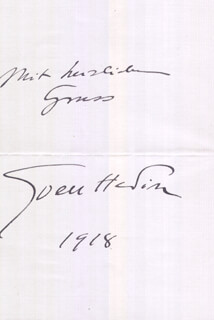 SVEN HEDIN - AUTOGRAPH NOTE SIGNED  1918