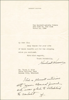 PRESIDENT HERBERT HOOVER - TYPED LETTER TWICE SIGNED 03/14/1946