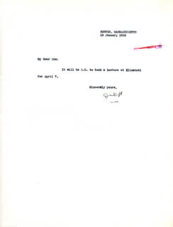 Autographs: REAR ADMIRAL RICHARD E. BYRD - TYPED NOTE SIGNED 01/12/1932