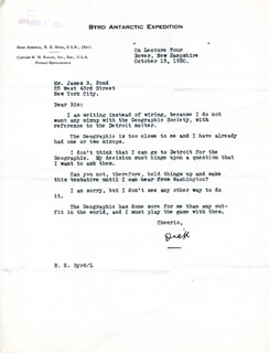 Autographs: REAR ADMIRAL RICHARD E. BYRD - TYPED LETTER SIGNED 10/15/1930