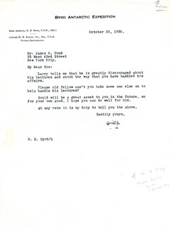 REAR ADMIRAL RICHARD E. BYRD - TYPED LETTER SIGNED 10/25/1930