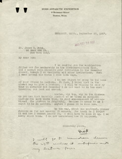Autographs: REAR ADMIRAL RICHARD E. BYRD - TYPED LETTER SIGNED 09/23/1927