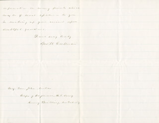 MAJOR GENERAL GEORGE W. CULLUM - AUTOGRAPH LETTER SIGNED 12/16/1875