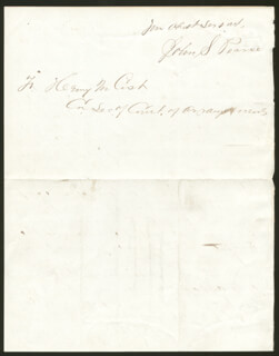 GENERAL JOHN S. PEARCE - AUTOGRAPH LETTER SIGNED 01/16/1868