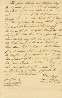 Autographs: MAJOR GENERAL JAMES CLINTON - MANUSCRIPT DOCUMENT SIGNED 04/20/1785