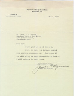 Autographs: ASSOCIATE JUSTICE JAMES F. BYRNES - TYPED LETTER SIGNED 05/04/1942