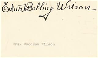 FIRST LADY EDITH BOLLING WILSON - AUTOGRAPH
