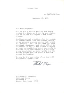 PRESIDENT RICHARD M. NIXON - TYPED LETTER SIGNED 09/17/1976