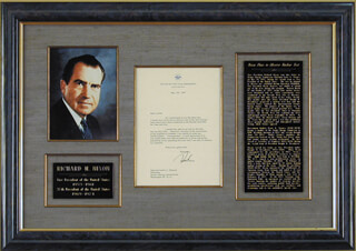 PRESIDENT RICHARD M. NIXON - TYPED LETTER SIGNED 05/20/1957