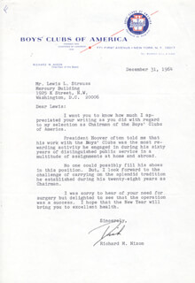 PRESIDENT RICHARD M. NIXON - TYPED LETTER SIGNED 12/31/1964