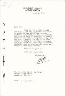 PRESIDENT RICHARD M. NIXON - TYPED LETTER SIGNED 04/06/1963