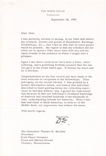 PRESIDENT DWIGHT D. EISENHOWER - TYPED LETTER SIGNED 09/28/1960