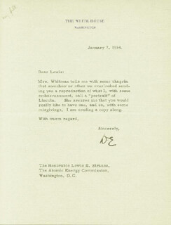 PRESIDENT DWIGHT D. EISENHOWER - TYPED LETTER SIGNED 01/07/1954