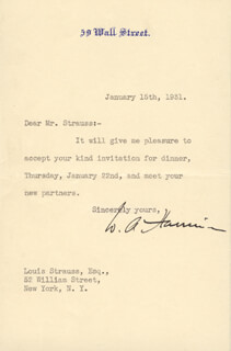 W. AVERELL HARRIMAN - TYPED LETTER SIGNED 01/15/1931  - HFSID 87676