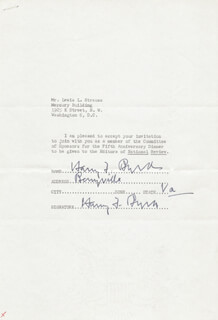 Autographs: HARRY F. MR. ECONOMY BYRD SR. - DOCUMENT DOUBLE SIGNED