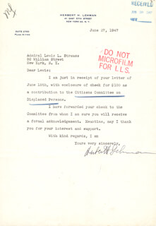 GOVERNOR HERBERT H. LEHMAN - TYPED LETTER SIGNED 06/27/1947