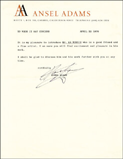 Autographs: ANSEL ADAMS - TYPED LETTER SIGNED 04/22/1976