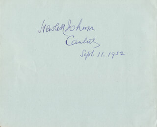 Autographs: HEWLETT JOHNSON - SIGNATURE(S) 09/11/1952