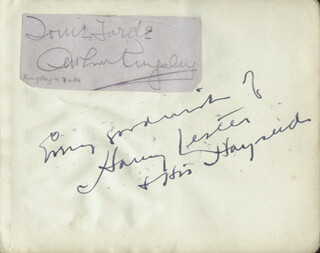 HARRY LESTER - AUTOGRAPH SENTIMENT SIGNED