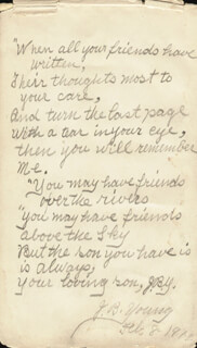 JOSEPH B. YOUNG - POEM SIGNED TWICE 02/08/1912