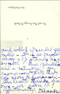ELEANOR SMITH - AUTOGRAPH LETTER SIGNED