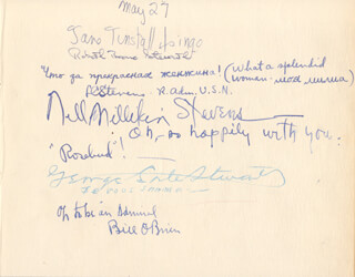 JANE TUNSTALL LINGO - AUTOGRAPH 05/07/1947 CO-SIGNED BY: VICE ADMIRAL LESLIE C. STEVENS, NELL MILLIKIN STEVENS