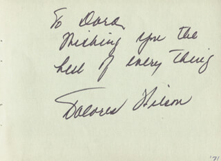 DOLORES WILSON - AUTOGRAPH NOTE SIGNED CIRCA 1971