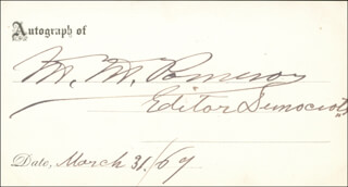 Autographs: MARCUS M. POMEROY - PRINTED CARD SIGNED IN INK 03/31/1869