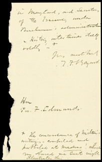 THOMAS F. BAYARD SR. - AUTOGRAPH LETTER SIGNED 02/11/1882