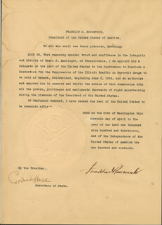 Autographs: PRESIDENT FRANKLIN D. ROOSEVELT - DIPLOMATIC APPOINTMENT SIGNED 04/11/1936 CO-SIGNED BY: CORDELL HULL