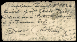 THOMAS SULLY - AUTOGRAPH DOCUMENT SIGNED 12/08/1824